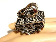 SILVER BIRD SKULL POISON RING box casket gothic crow sparrow songbird goth 6 G5