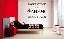 EVERYONE IS A CHAMPION IN GOD'S EYES WALL VINYL DECAL STICKER SPORTS DECAL QUOTE