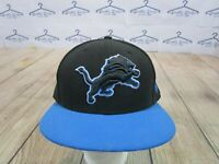NICE New Era 59Fifty Detroit Lions Black Blue Fitted Hat Cap size 7 5/8
