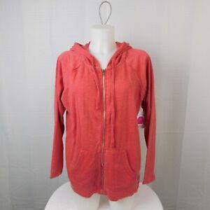 Bobbie Brooks Cotton-Blend Zip-Up Hoodie Sweatshirt - Red, Large #4148
