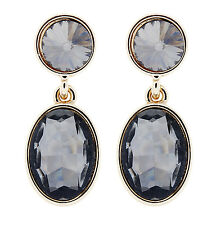 CLIP ON EARRINGS - gold plated with black crystal stones  - Maddy B