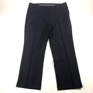 Bassoni Uomo Mens 38L Wool Dress Pants Dark Blue Straight Leg Rolled Hemlines