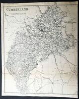 1875 Kelly & co Large Old, Antique Map of the English County of Cumberland