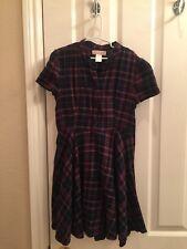 Girl's Nordstrom Zoe & Rose Plaid Dress, Medium, Short Sleeve, Navy & Burgundy