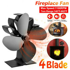 4 Blades Wood Heater Eco Fan Stove Fireplace Fire Heat Powered Circulating