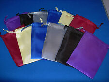 """NEW 12 ASSORTED SATIN DICE BAGS 3"""" WIDE  X 4"""" TALL RED BLU YEL GRY BLK AND PUR"""
