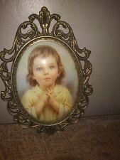 """Vintage Oval Domed Glass Praying Child Artwork, Metal Frame 10"""" X 7"""""""
