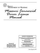 COMMERCIAL DRIVER'S MANUAL FOR CDL TRAINING (MISSOURI) ON CD IN PDF PROGRAM.