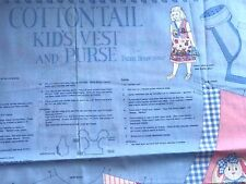 "Quilt Fabric Cottontail Kid's Vest and Purse 1996 Fabric Traditions  35""x44"""