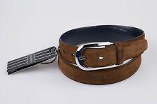 New. ERMENEGILDO ZEGNA COUTURE Brown Suede Leather Men's Belt Size 85/32 $395