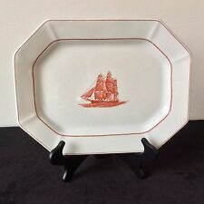 """WEDGWOOD FLYING CLOUD RUST14"""" X 11""""OVAL SERVING PLATTER ENGLAND RED SAILING SHIP"""