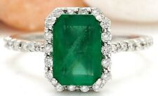 2.90 Carat Natural Emerald 14K Solid White Gold Diamond Ring