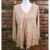 Calypso St. Barth Women's Sz S Beige Lace Long Sleeve V-Neck Blouse Sequin Trim