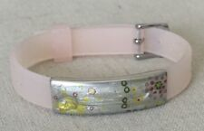 ZOPPINI Rubber and Stainless Steel Metal Bracelet Pale Pink Enameled Painted