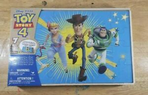 Disney TOY STORY 4 Jigsaw Puzzle Set, Wooden Storage Box, 7 Puzzles, Age 3+
