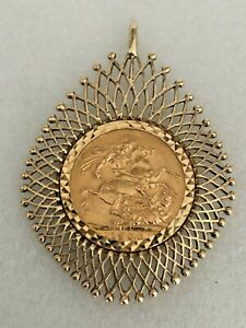 22ct Gold Full Sovereign 1906 set in a 9ct Gold FH Latticed Pendant Mount 14.1g