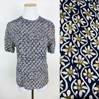 VTG 90s Daisy Print Blouse XS Crinkled Rayon Navy Blue Minimalist Ditsy Floral