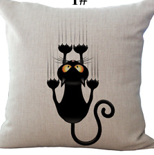 Cushion Cover Climbing Cat Cover Linen with secret Zipper 18 x 18 inches