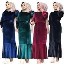 Velvet Muslim Women Abaya Long Maxi Dress Robes Pleated Belt Kaftan Islamic Gown