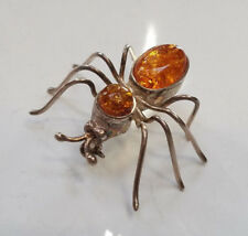Genuine Baltic Amber 925 Sterling Silver Bee Bug Brooch Pin 1 1/2'' NEW
