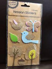 NEW - HESSIAN STICKERS - BLUE  BIRD - BUTTERFLY - TREES ETC - 1 SHEET