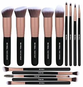 BS-MALL Rose Gold 14 Pcs Makeup Brushes Premium Synthetic