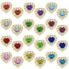 Heart Halo Stud Push Back Earrings 925 Sterling Silver 14K YGP Birthstone