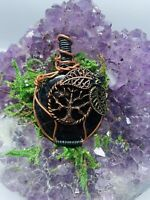 Stunning Fall Inspired Black Tourmaline Wire Wrapped Pendant *Handcrafted*