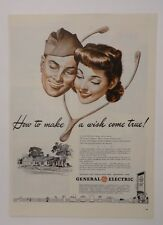 Original Print Ad 1943 GENERAL ELECTRIC GE How to Make a Wish Come True Home