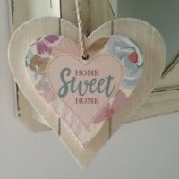 Shabby Chic Wood Double Heart hanging Decoration with 3 different texts
