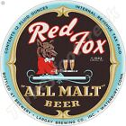 """RED FOX ALL MALT BEER 11.75"""" ROUND METAL SIGN"""