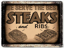 BUTCHER STEAK RIBS HOUSE metal SIGN BBQ barbecue VINTAGE style KITCHEN decor 041