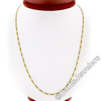 """14k Solid Yellow Gold Long 24"""" 1mm Figaro Link Chain Necklace w/ Lobster Clasp"""