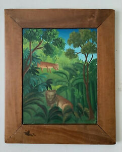 Naive Folk Art Landscape Haiti Port Salut Jungle Animals oil painting C.1977
