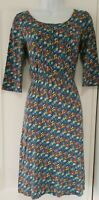 Womens Seasalt Blue Floral Ditsy Organic Stretch Cotton Elastic Waist Dress 8.