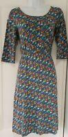 Womens Seasalt Blue Floral Ditsy Organic Stretch Cotton Elastic Waist Dress 8.