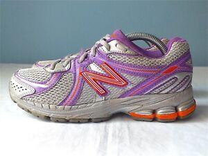 New Balance 860 V2 Youth Running Shoes Silver/Purple/Orange Sz 4.5 US