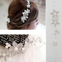 Hair Accessories Clips Romantic Crystal Pearl Flower HairPin Tiara Bridal Crown