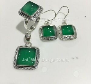 1 Set Green Onyx 925 Sterling Silver Earring Necklace Pendant Earring Ring SS-10