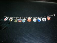 Antique European Silver Travel Shield Charm Bracelet 10 charms