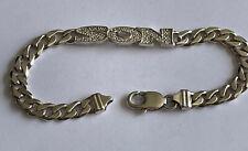 Vintage Solid Italy 925 Silver & Cubic Zirconia Set Son Curb Link Bracelet 7.5in
