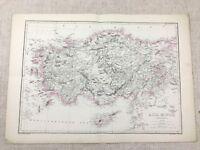 1857 Antik Map Of Asien Minor Europa Cyprus Hand- Farbig 19th Century Original