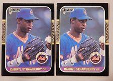1987 Donruss Darryl Strawberry New York Mets #118 Baseball Card lot of 2