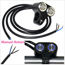 "Motorbike 22mm 7/8"" Handlebar Switch Blue LED Manual-Return Headlight DRL ON-OFF"