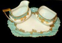 Vintage T & V Limoges Porcelain Sugar & Creamer with Tray
