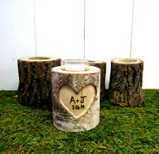 5 year Anniversary Gift Personalized Couples Initials Birch Branch Candle Holder