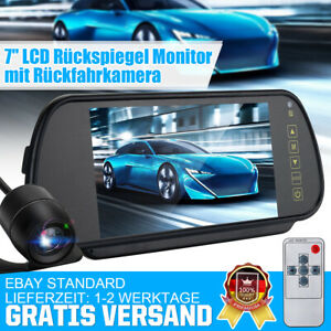 7'' IP67 LCD Mirror Monitor +Wired Car Reverse Rear View Backup Camera Night