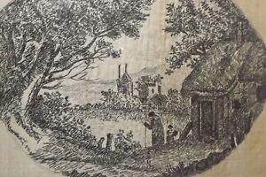 ANTIQUE REGENCY BLACK SILKWORK EMBROIDERY PICTURE C.1790 - RURAL SCENE