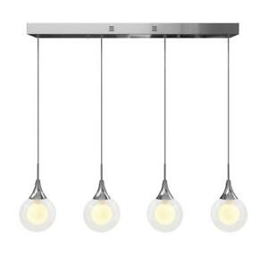 Frosted Globe 11-Watt Chrome Integrated LED Pendant by Artika