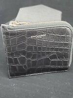 Saint Laurent Men's Crocodile Print Black Leather Florida Half-zip Wallet - New